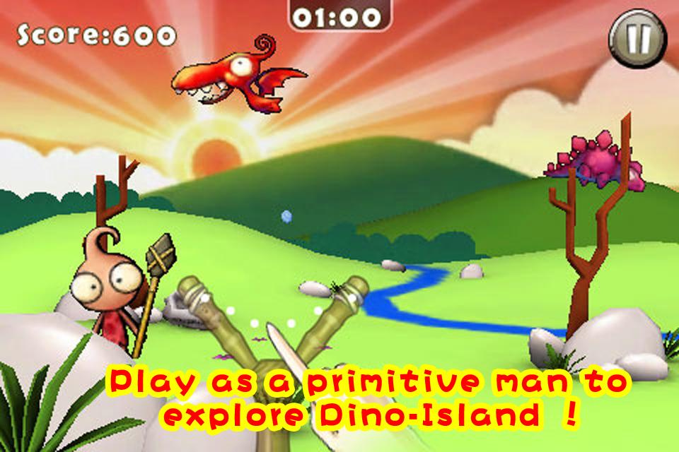 在神秘的恐龙岛上来冒险吧! 来体验欢乐、搞笑的乐园类型游戏吧! 对准恐龙,点击屏幕轻轻向下滑动,就像真实的弹弓一样就可将恐龙岛发射出去! 原始人的宁静被一群不速之客打乱,做为原始人的你最好的还击就是拿起武器来还击敌人! 游戏特点: - 游戏适合喜欢轻松、搞笑的游戏玩家! - 挑战4个独特的场景和44个关卡!